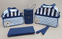 Conjunto Bolsas Maternidade 4 Peças Menino Urso Azul - Ludy Baby -