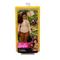 Conjunto Boneca Barbie Plus Size Negra Morena Profissões Vida Selvagem National Geographic - Mattel -