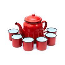 Conjunto Bule Esmaltado 1,7 Litros com 06 xícaras 150 ML Yazi Vermelho Para Servir -