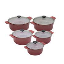 Conjunto c 5 Panelas Forno Fogão Premium Revestida em Cerâmica Antiaderente e Alu. Fundido Vermelha - Aluminios J.R