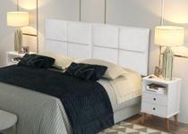 Conjunto Cabeceira Box Casal 1 40 Bella Branco / Kit 2 mesa de cabeceira Domus Branco - RPM Móveis -