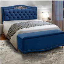 Conjunto Cabeceira Painel Estofado Belize + Recamier Puff Bau Belize 160 Cm Para Cama Queen Size Quarto Luxor Azul Ref 2302 - Amarena - Js Moveis