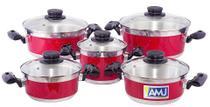 Conjunto Caçarola Vermelho 5 pçs com Tampa de Vidro - Aluminio Amj