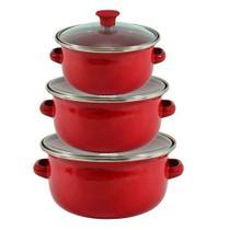 Conjunto Caçarolas Esmaltada 3 Peças Tampa de Vidro Wincy - Vermelha -