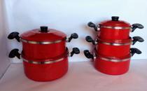 Conjunto caçarolas vermelhas n 16 á n 24 - Alumínio Colombo - Erca Aluminio