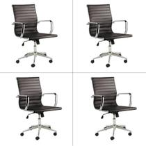 Conjunto Cadeira de Escritório Eames Sevilha Rivatti 4 Peças Baixa PU -