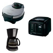 Conjunto Cafeteira, Máquina de Cupcake e Fritadeira 127V Britânia Preto -