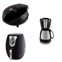 Conjunto Cafeteira, Máquina de Cupcake e Fritadeira 220V Britânia Preto -
