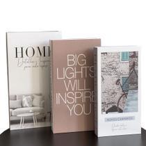 Conjunto Caixa Porta Objetos/Livro Decorativa Luxo - Home - FWB