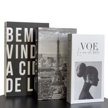 Conjunto Caixa Porta Objetos/Livro Decorativa Luxo - Voe - FWB