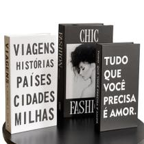 Conjunto Caixa Porta Objetos/Livro Decorativo Luxo - Fashion - Fwb