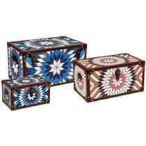 Conjunto Caixas Baú MDF 3 Peças 34cm Azul/Vermelho - Mart