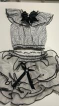 Conjunto calcinha bunda rica tamanho P,M,G veste de 4 meses à 2 anos e meio , branco e preto - N/S Confecções