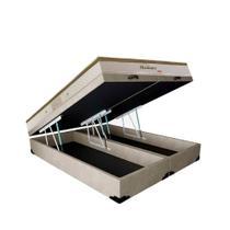Conjunto Cama Box Baú Suede Bege Bipartido + Colchão Queen Herval Molas Pocket Meditare (158x198x69) - King Colchões