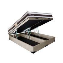 Conjunto Cama Box Baú Suede Bege Bipartido + Colchão Queen Herval Molas Pocket Ness (158x198x66) - King Colchões