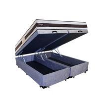 Conjunto Cama Box Baú Suede Cinza Bipartido + Colchão Queen Herval Molas Pocket Ness (158x198x66) - King Colchões