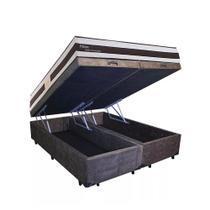 Conjunto Cama Box Baú Suede Marrom Bipartido + Colchão Queen Herval Molas Pocket Ness (158x198x66) - King Colchões
