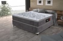 Conjunto cama box casal com colchão Excelsior com Base Suede Cinza - Gazin Colchões -