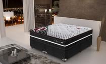 Conjunto cama box casal Queen colchão Gazin Seduccion com Base Suede  Preto - Gazin Colchões -