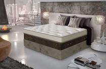 Conjunto cama box casal Queen com colchão Primeline Grand Luxor Base Suede Graf Bege Gazin Colchões -