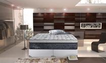 Conjunto cama box king colchão Primeline Hr Linha Royalty Base Corano Branco Lisa Gazin Colchões -