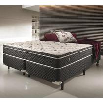 Conjunto cama box king size soft comfort preto - antiácaro, antifungo e antialérgico - 193x203x60cm Ecoflex