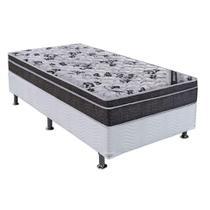 Conjunto Cama Box Physical com Colchão Solteiro Molas Nanolastic Romanzza (20x88x188) Grafite - Ortobom