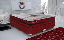 Conjunto cama box Romance Wine Queen 158cm com base 606 Gazin - Gazin Colchões