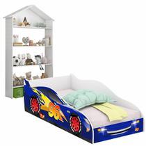 Conjunto Cama Carro 96 Solteiro e Estante Infantil Casinha Buba Branco - RPM Móveis -