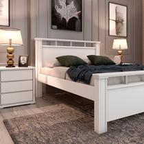 Conjunto Cama Casal 109 e Mesa de Cabeceira 3 Gavetas Stillus Tcil Móveis Branco/Branco -