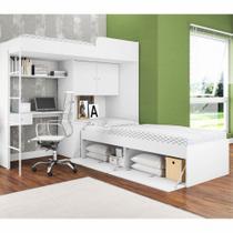 Conjunto Cama com Baú e Cama alta com Escada e Escrivaninha CJ015 Art in Móveis -