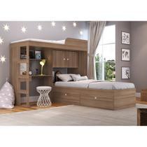 Conjunto Cama de Solteiro com Baú e Cama alta Lion com Escada e Escrivaninha CJ038 Art in Móveis -