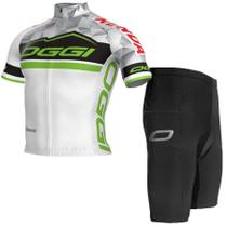 Conjunto Camisa Bermuda Oggi Elite Team Tour Branco Verde Preto -