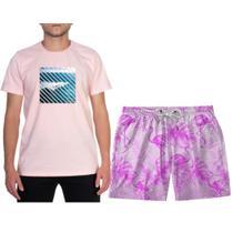 Conjunto Camiseta Masculina Macio Manga Curta com Short Praia Bermuda Adulto Ajuste no Cordão - Efect