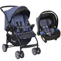 Conjunto Carrinho de Bebê Travel System Reclinável Reversível Rio K De 0 a 15kg com Bebê Conforto Touring X De 0 a 13kg Burigotto Mesclado Azul -