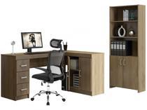 Conjunto Caruaru 4 Portas 3 Gavetas Politorno  - com Escrivaninha e Estante + Cadeira Giratória