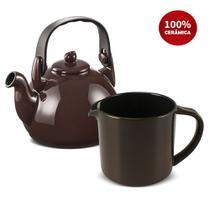 Conjunto Chaleira E Fervedor Cerâmica Colonial Chocolate Ceraflame -