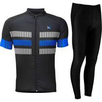 Conjunto ciclismo camisa mattos racing bike track mtb + calça preto forro gel mountain bike -