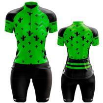 Conjunto Ciclismo Feminino Bermuda e Camisa Cacto Verde Dry Fit Proteção UV +50 - Pro Tour