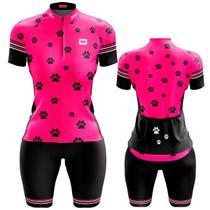 Conjunto Ciclismo Feminino Bermuda e Camisa Patinhas Dry Fit Proteçõ UV +50 - Pro Tour