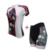 Conjunto ciclismo feminino fit bike flor - Ativofast