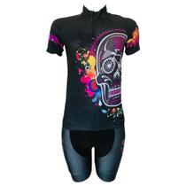 Conjunto Ciclismo MTB Feminino Caveira Mexicana - Pro Tour