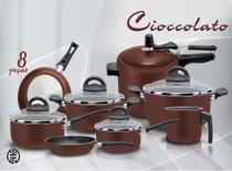 Conjunto cioccolato 08 peças teflon com panela de pressão - Marpal