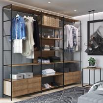 Conjunto Closet Modulado em Estilo Industrial com 3 Estantes e Mesa de Cabeceira 27803 Steel Quadra Artesano -