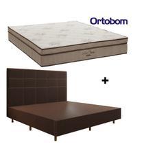 Conjunto Colchão Ortobom + Cama Box King  193x203x55cm + Cabeceira King  - Móveis Digital -