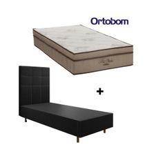 Conjunto Colchão Ortobom + Cama Box Solteiro  88x188x55cm + Cabeceira King - Móveis Digital -