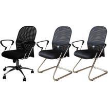 Conjunto com 1 Cadeira Diretor e 2 Cadeiras Interlocutores em Tela Mesh PEL-6052/PEL-8036 Pretas - Pelegrin