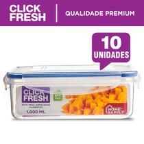 Conjunto com 10 potes herméticos alta qualidade click fresh -