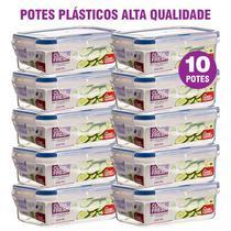 Conjunto com 10 potes plasticos 100% herméticos click fresh -