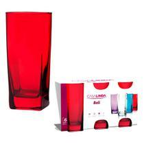 Conjunto Com 12 Copos Bali De Vidro Vermelho 350 Ml -